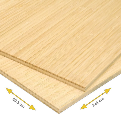 Bamboe plaat 10 mm side pressed 3-laags naturel 244 x 60,5 cm