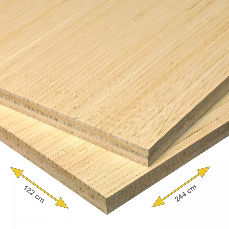 Bamboe plaat 20 mm side pressed 5-laags naturel 244 x 122 cm