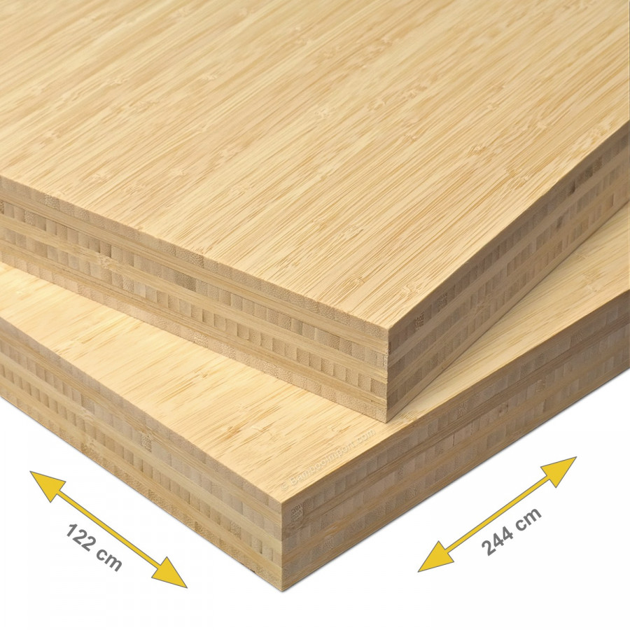 Bamboe plaat 40 mm side pressed 7-laags naturel 244 x 122 cm